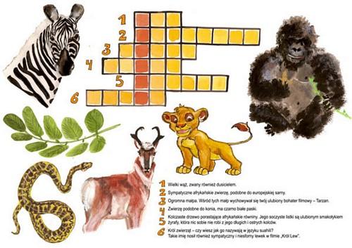 krzyżówka Afrykańskie zwierzęta
