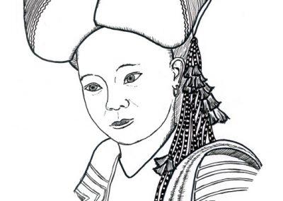 Kobieta zgrupy etniczej Czerwoni Dao (Wietnam)